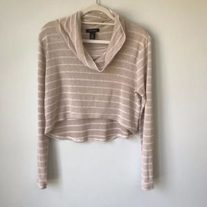 WHBM   Striped Cropped Cowl Neck Sweater, Size M